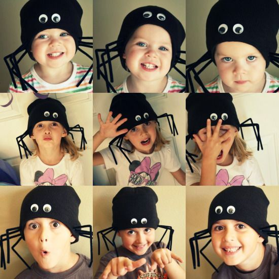 We had so much fun crafting these hats the other day! They are super - quick halloween costumes ideas
