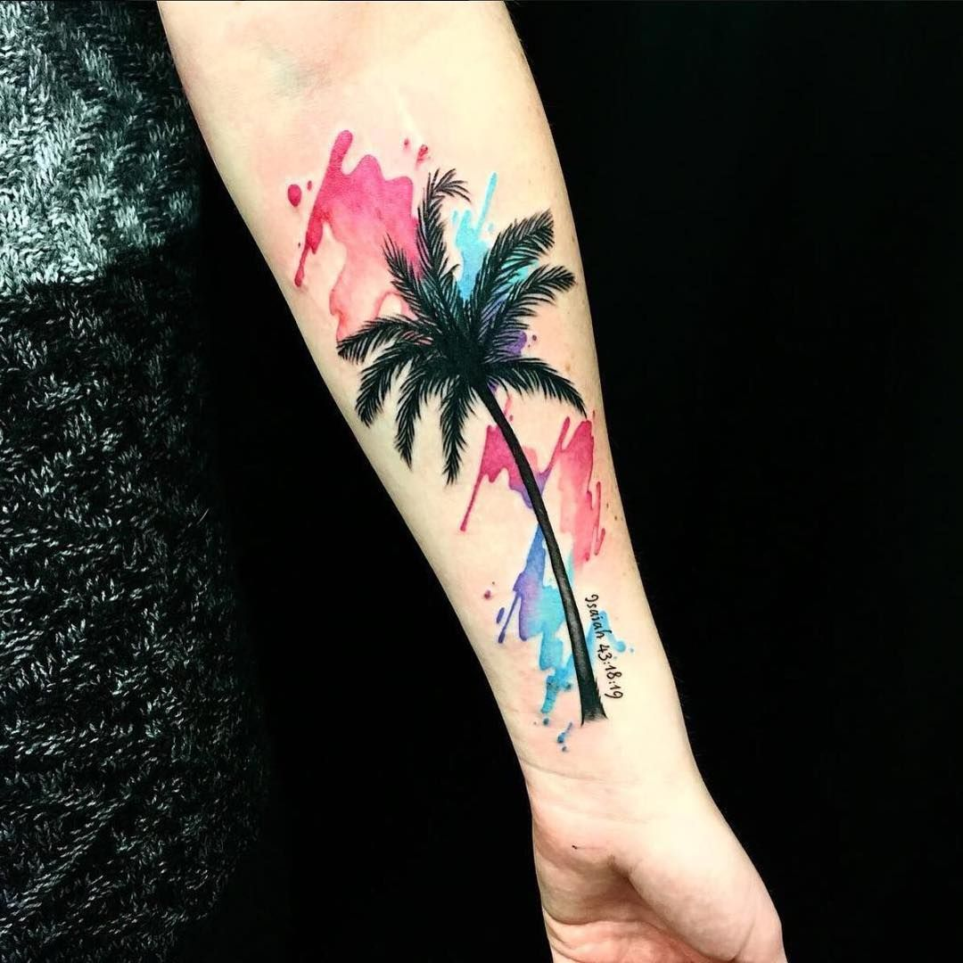 Watercolor Palm Tree By Helen Meowl Tattoos Done At Chronic Ink