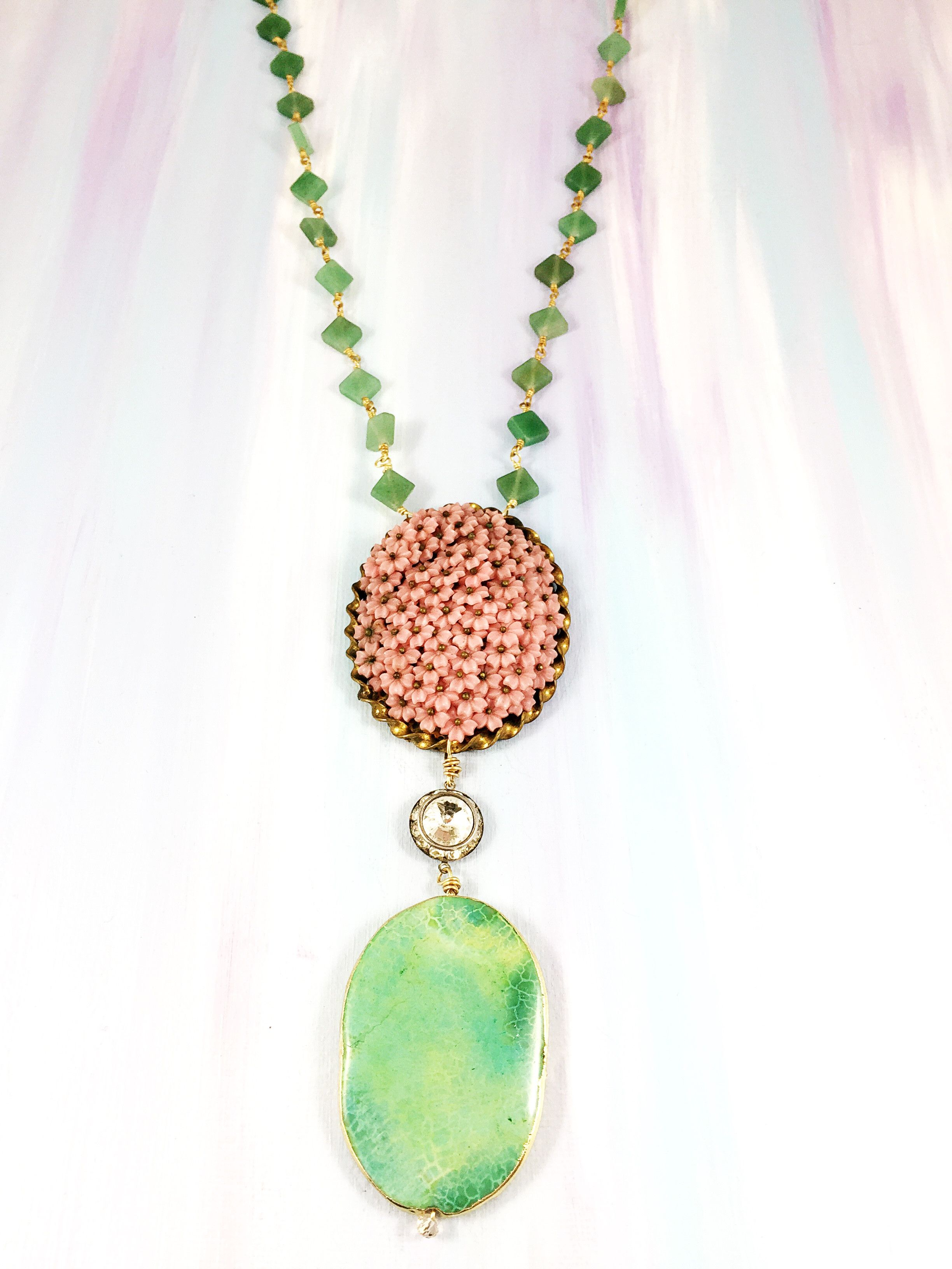 pendant chains yellow gemstone in gold jade dyed donut green