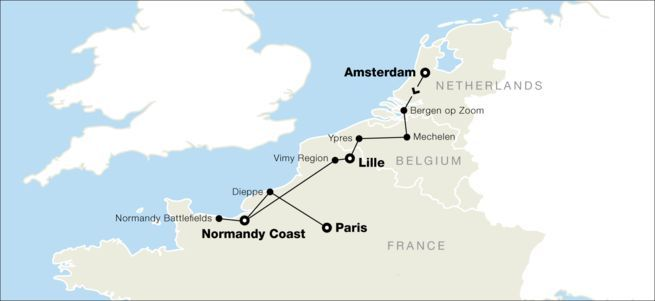 Map of Tour of France Belgium and the Netherlands Belgium