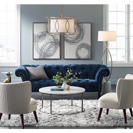 Tessa Sapphire Blue 90 3 4 Quot Wide Tufted French Sofa