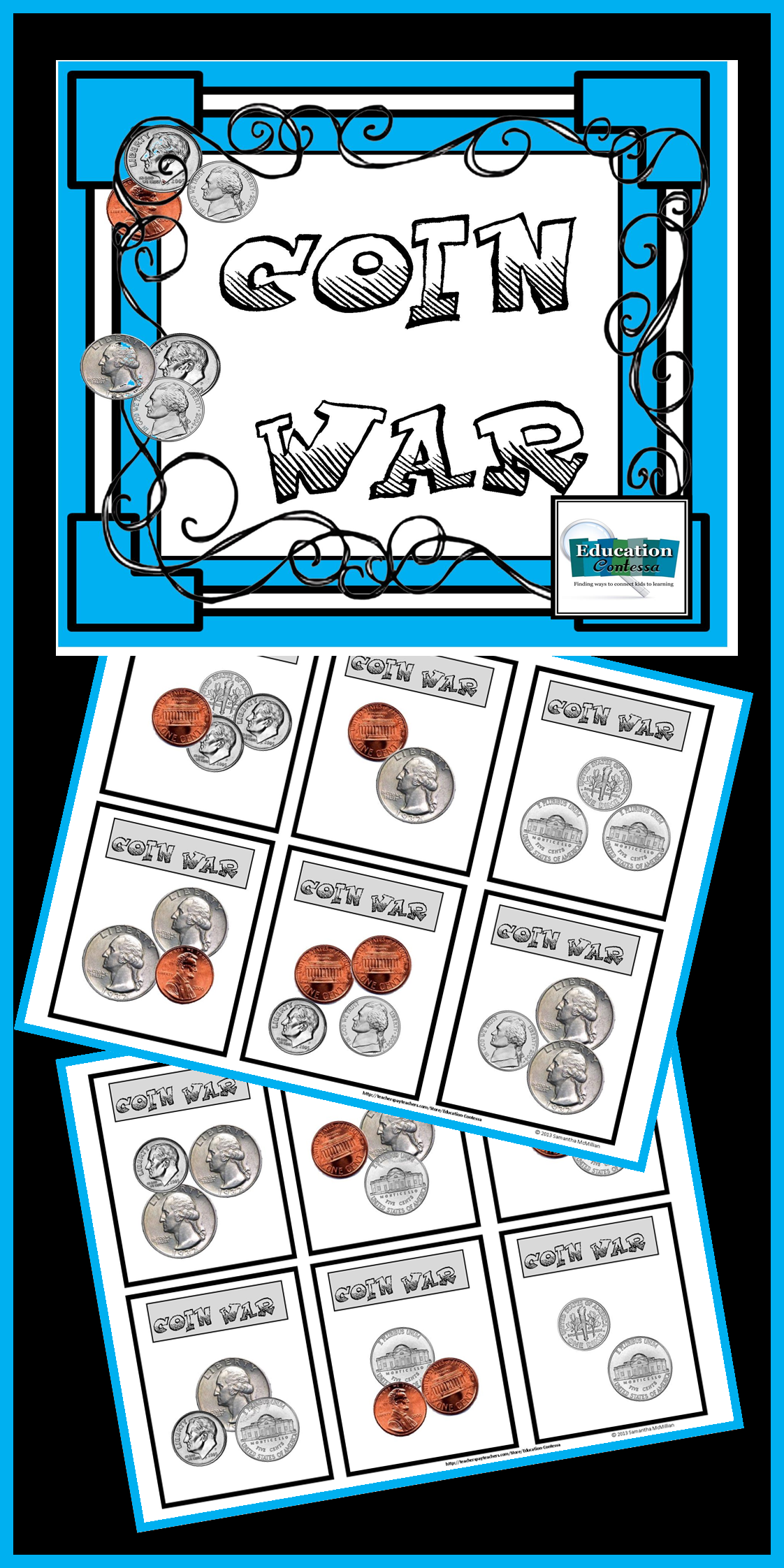 Coin war card game for practicing counting coins | Fun math ...