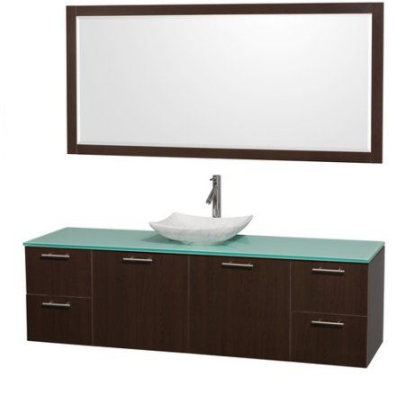 Wyndham Collection Amare 72 inch Single Bathroom Vanity in Espresso, Green Glass Countertop, Arista White Carrera Marble Sink, and 70 inch Mirror, Brown