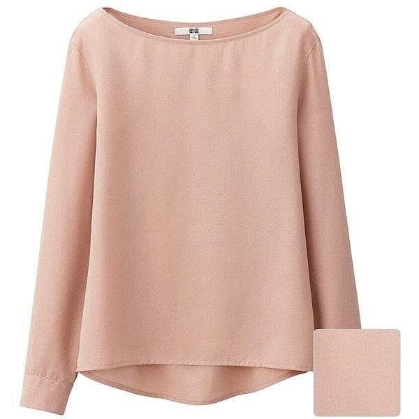 UNIQLO Silk Touch Boat Neck T Blouse (490 ARS) ❤ liked on Polyvore featuring tops, blouses, bateau neck tops, pink top, boat neck blouse, pink silk top and slash neck top