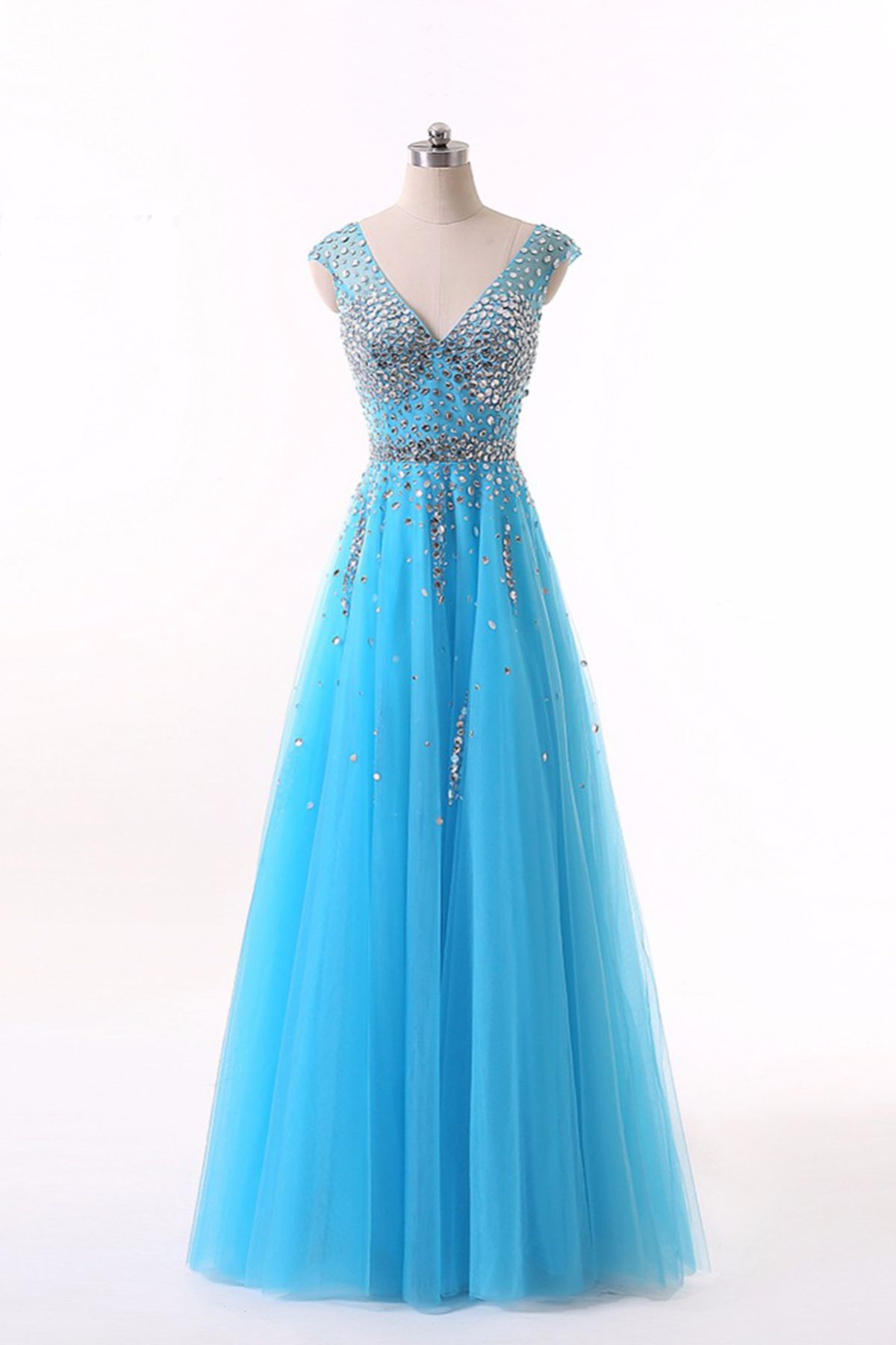 Royal blue tulle sequin and beading long prom dress ball gown