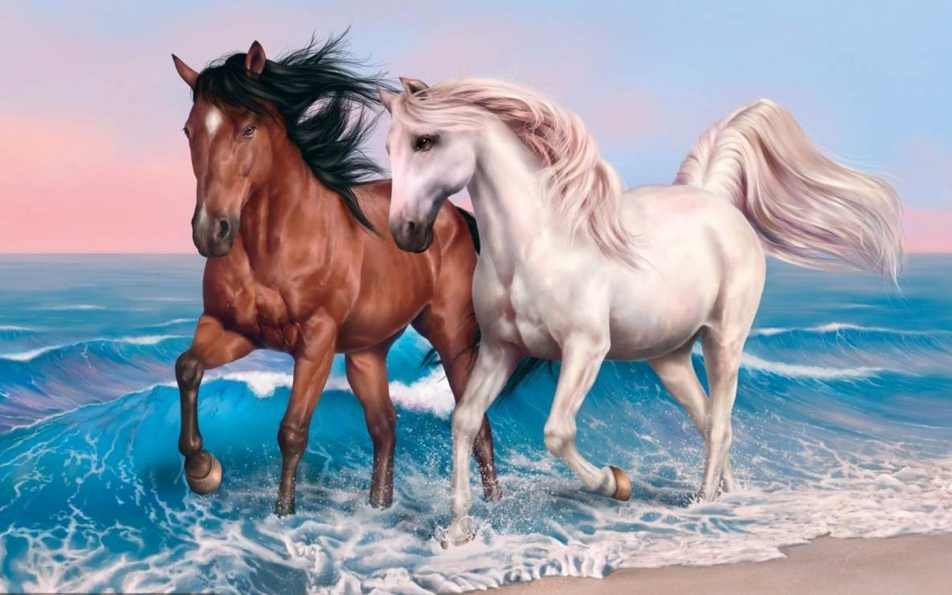 horses together running in the beach Beautiful horse