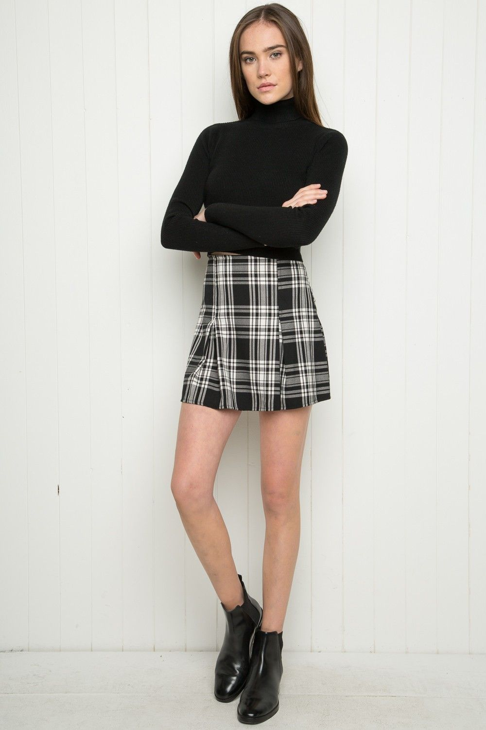 b314ec43c4 Brandy ♥ Melville | Kaitlee Skirt - Clothing Silky black and white plaid  skirt with pleated detailing in front, elasticized waist and a hidden side  zipper.