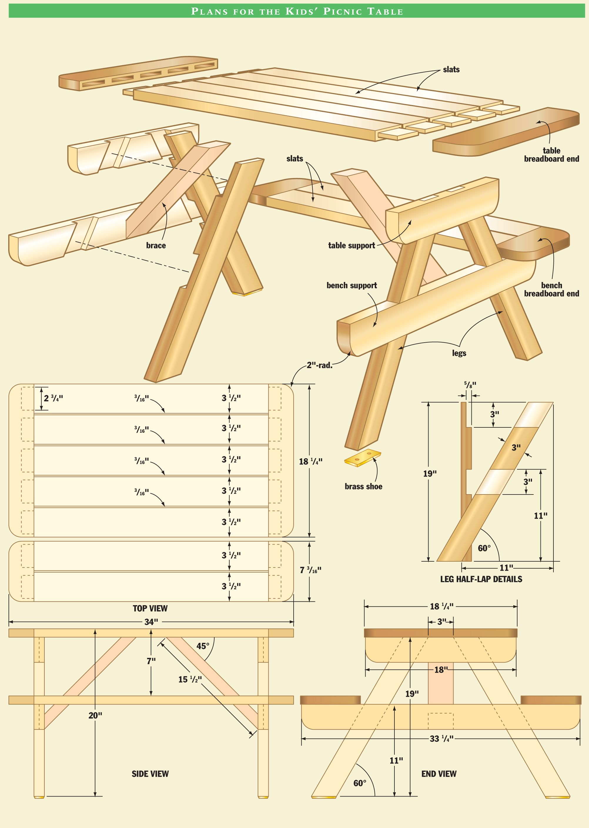 Kid 39 s picnic table woodworking plan ext rieur for Plan table en bois