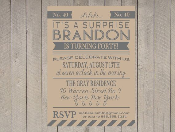 Adult Surprise Party Invitation Printable 40th Birthday 50th 60th