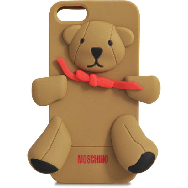 Moschino iPhone 5 Gennarino Cover ($33) ❤ liked on Polyvore featuring accessories, tech accessories, brown, iphone case, apple iphone cases, iphone cover case and moschino