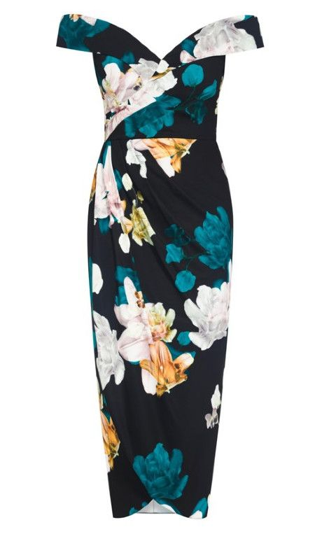 Photo of Floral Glow Maxi Dress – black