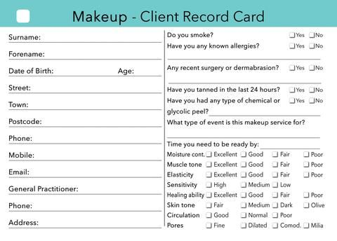 Makeup Client Card  Client Record Card  Treatment Consultation