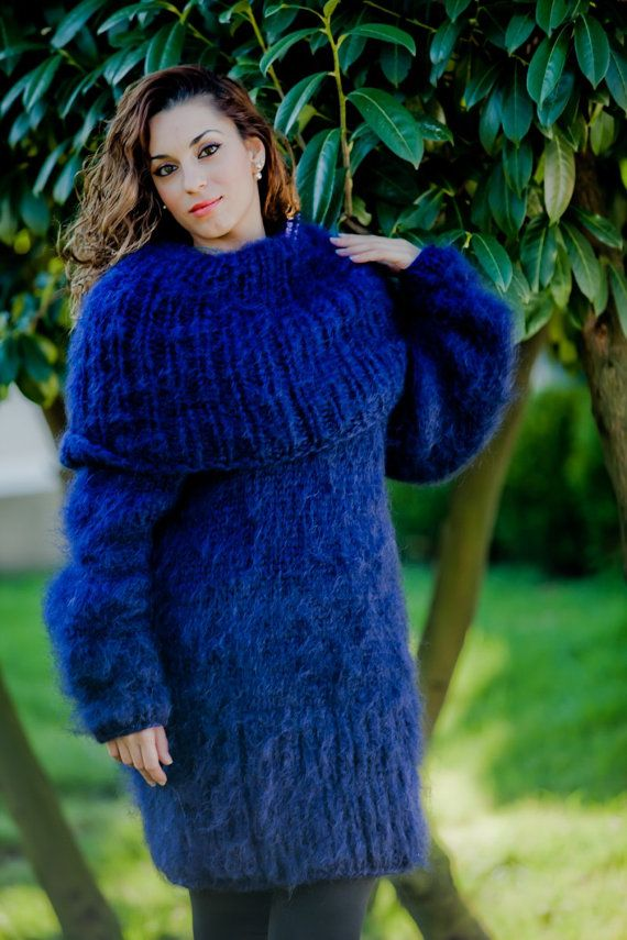 Blue Mohair Dress, Cowl Neck Sweater ,Hand Knitted Dress,Fluffy ...