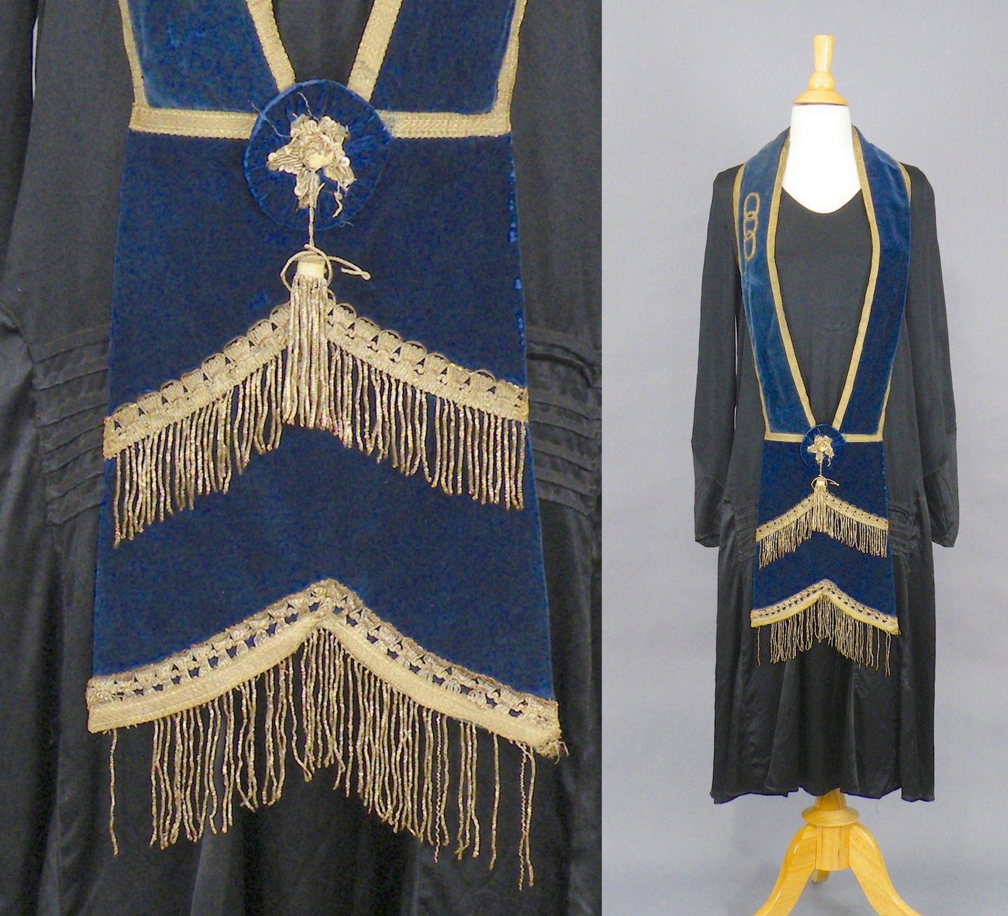 Antique 1920s Blue Velvet Metallic Bullion Embroidered Masonic
