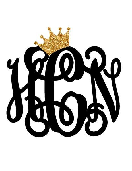 Crown monogram decal yeti monogram yeti cup car decal laptop decal