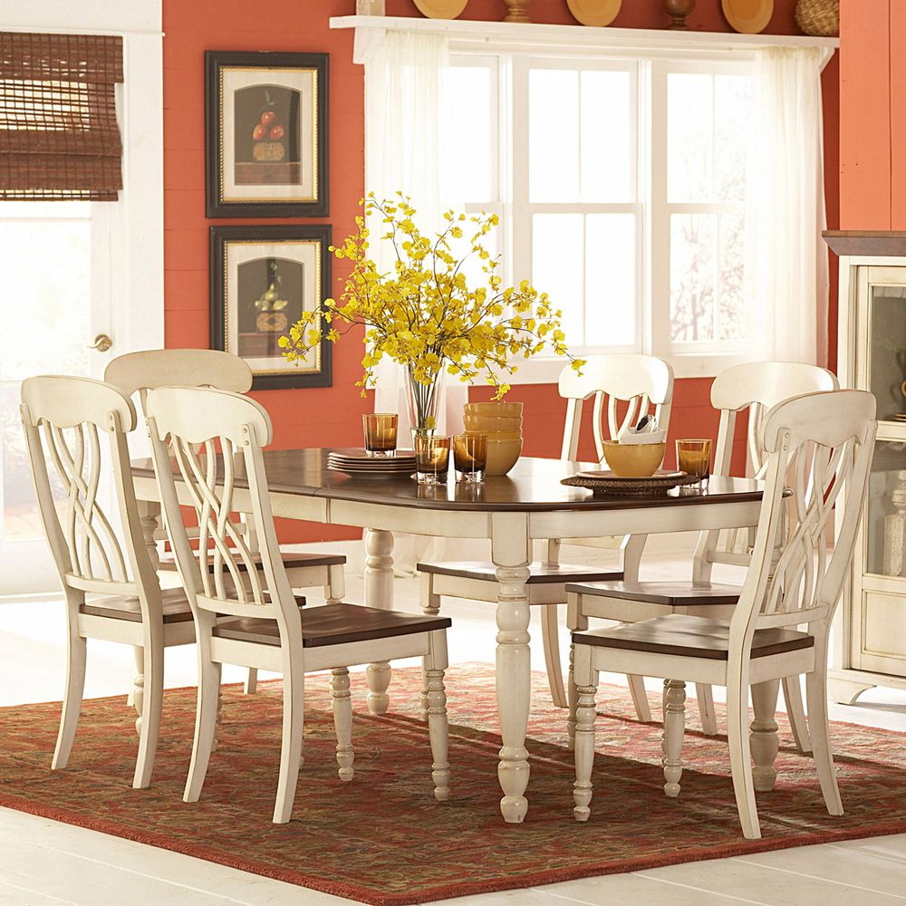 Awesome TRIBECCA HOME Mackenzie 7 Piece Country Antique White Dining Set |  Overstock™ Shopping