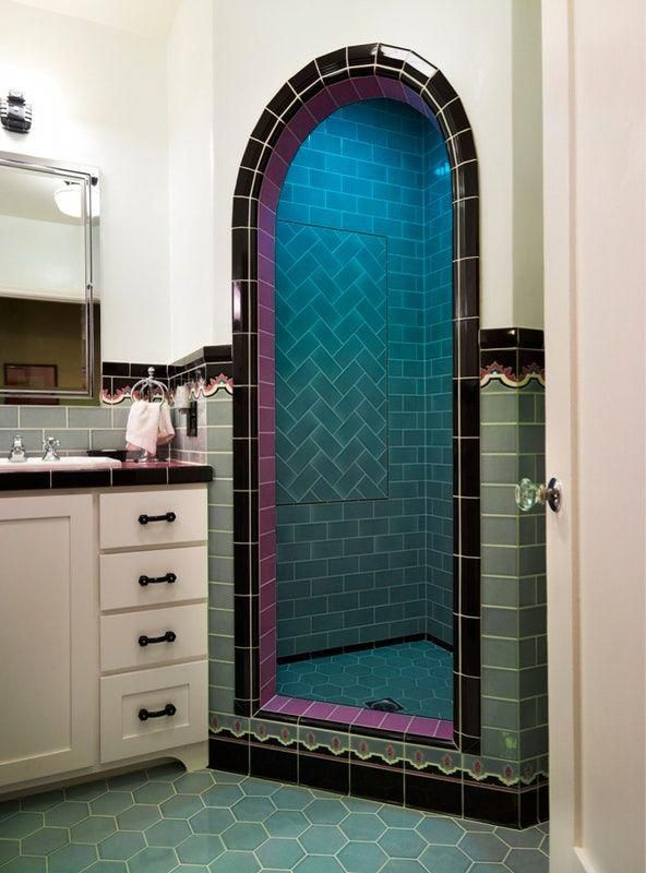 Getting the vintage look now brand new colorful bathrooms that celebrate past also best interior designs and furnishings images in rh pinterest