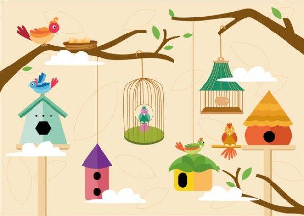 Download Cute Birds Cage Vector For Free Nest Illustration Cartoon Birds Bird Background