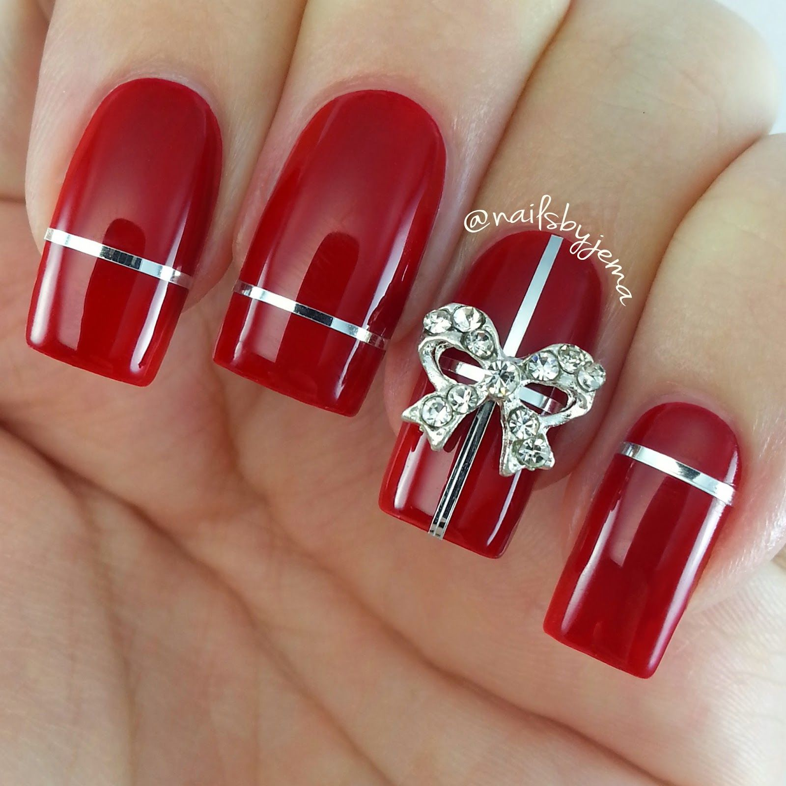 Bowsquenalbertini Red Bow Nails Google Search Bowsws