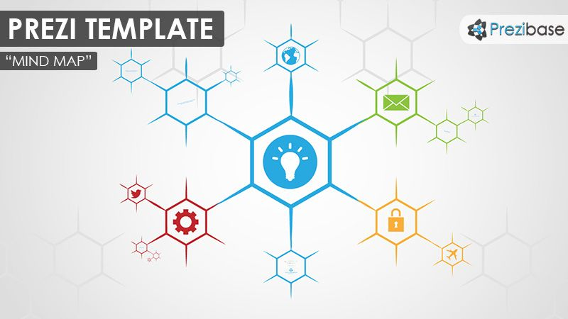 Prezi Template For Creating A Simple And Colorful Hexagon Shaped