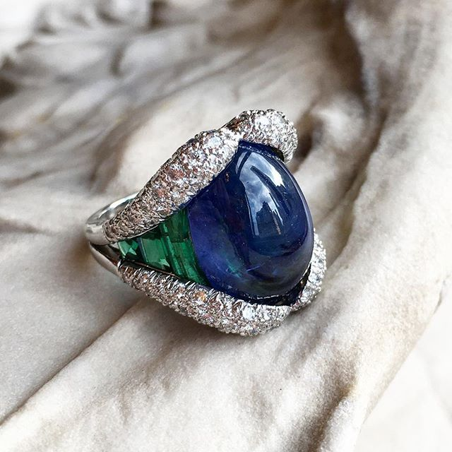 Verdura. A beauty in blue sapphire, emerald and diamond ring. More