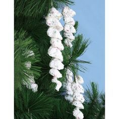 Icicle Ornaments that are pretty,and white always add a brightness to my Christmas tree!... Free pattern!