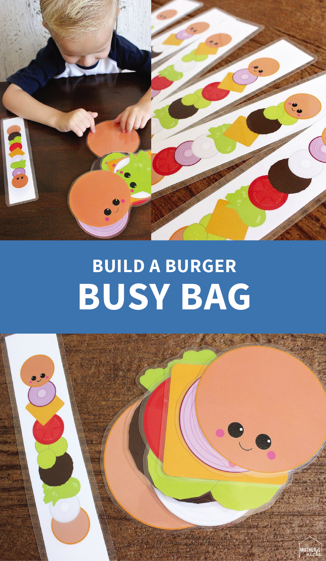 Build A Burger Busy Bag Printables Actividades Montessori Juegos Educativos Para Ninos Juegos Para Preescolar