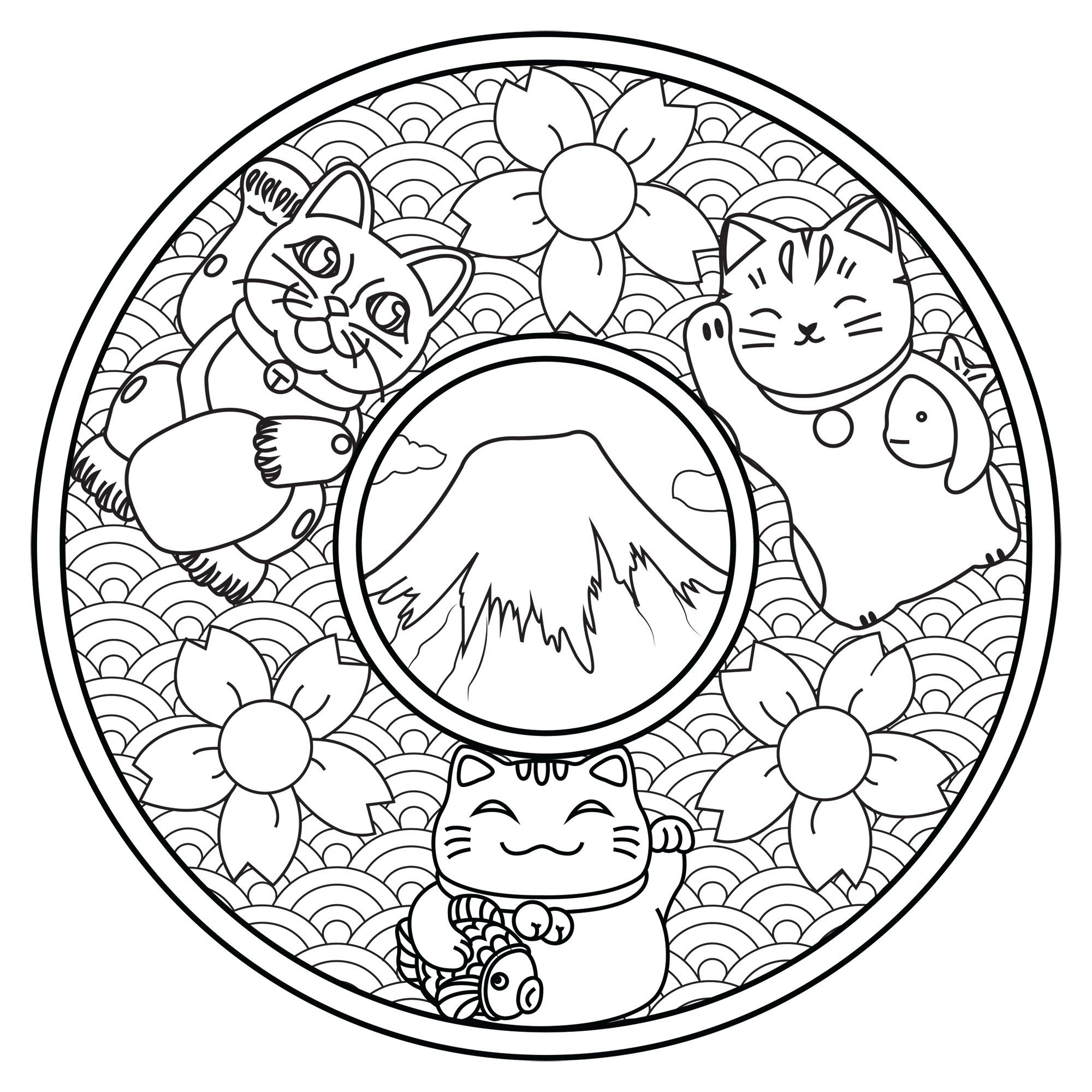 Color These Three Cute Cats On This Mandala Inspired By