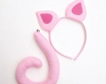 Wool felt pig ears headband by thethreadhouse on etsy for Template for pig ears