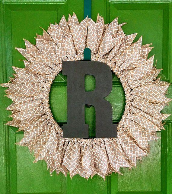 Monogram Wreath Initial Wreath Letter Wreath Everyday Wreath Front Door Wreath Personalized Wreath Monogram Personalized Wreaths Initial Wreath Monogram Wreath