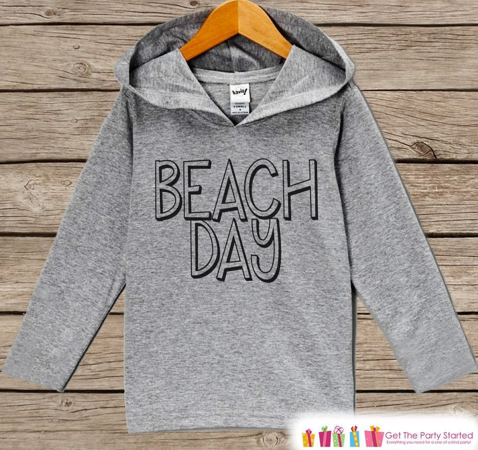 Kids Beach Day Hoodie - Fun Summer Outfit - Children's Pullover - Grey Toddler Hoodie - Infant Hoodie - Kids Beach Outfit, Baby, Youth, Toddler