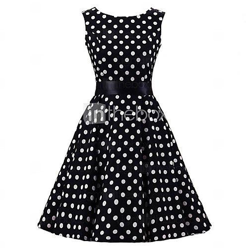 Women 39 S Black White Polka Dot Dress Vintage Sleeveless 50s Rockabilly Swing Short Cocktail Dress Ball Gown Dresses Women S A Line Dresses Blue Ball Gowns
