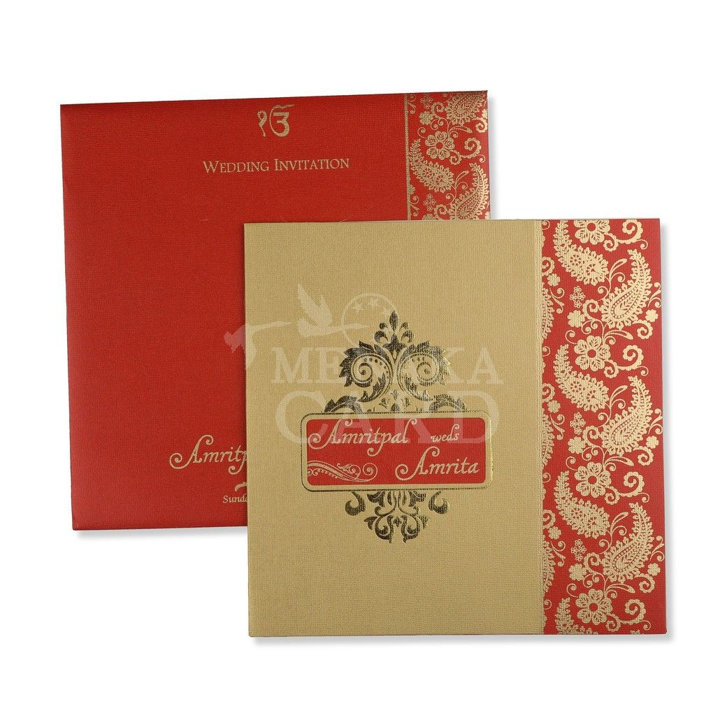 Maroon Card with Floral design in Gold foil and Gold Ink with 2 ...