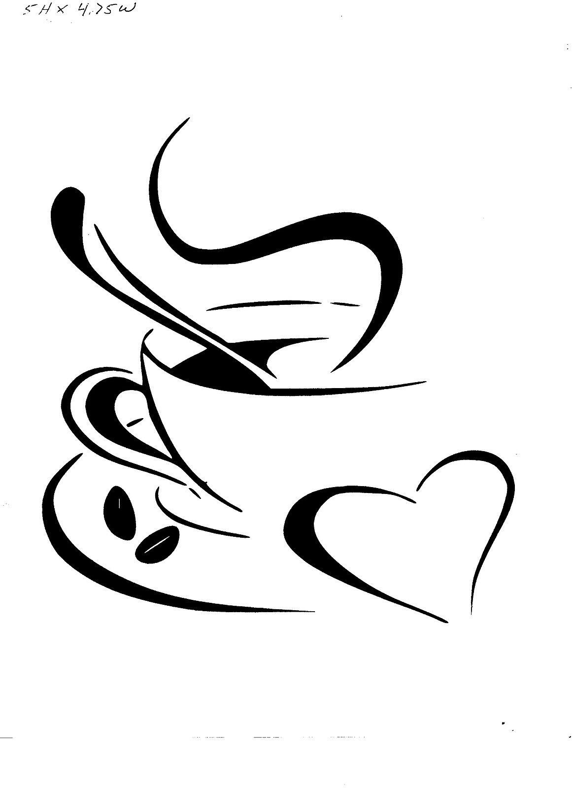 Coffee cup sketch - Vinyl Decal Sticker Coffee Cup With Heart