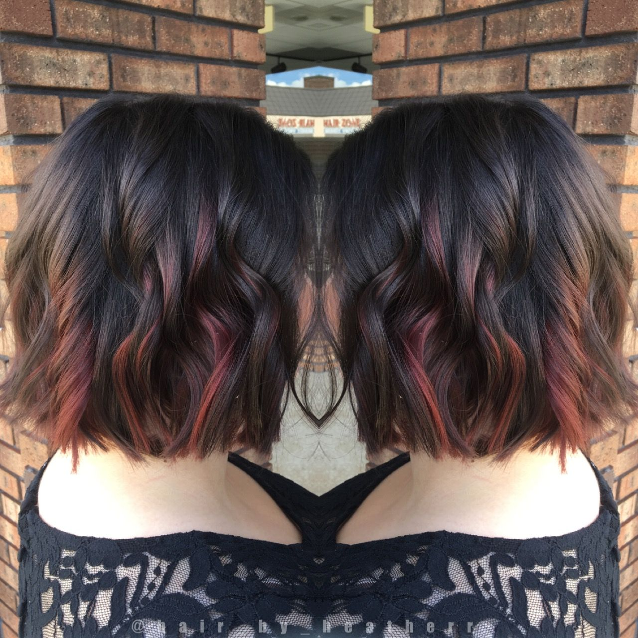 Dark Chocolate Brown With Red Peekaboo Balayage Highlights Hair