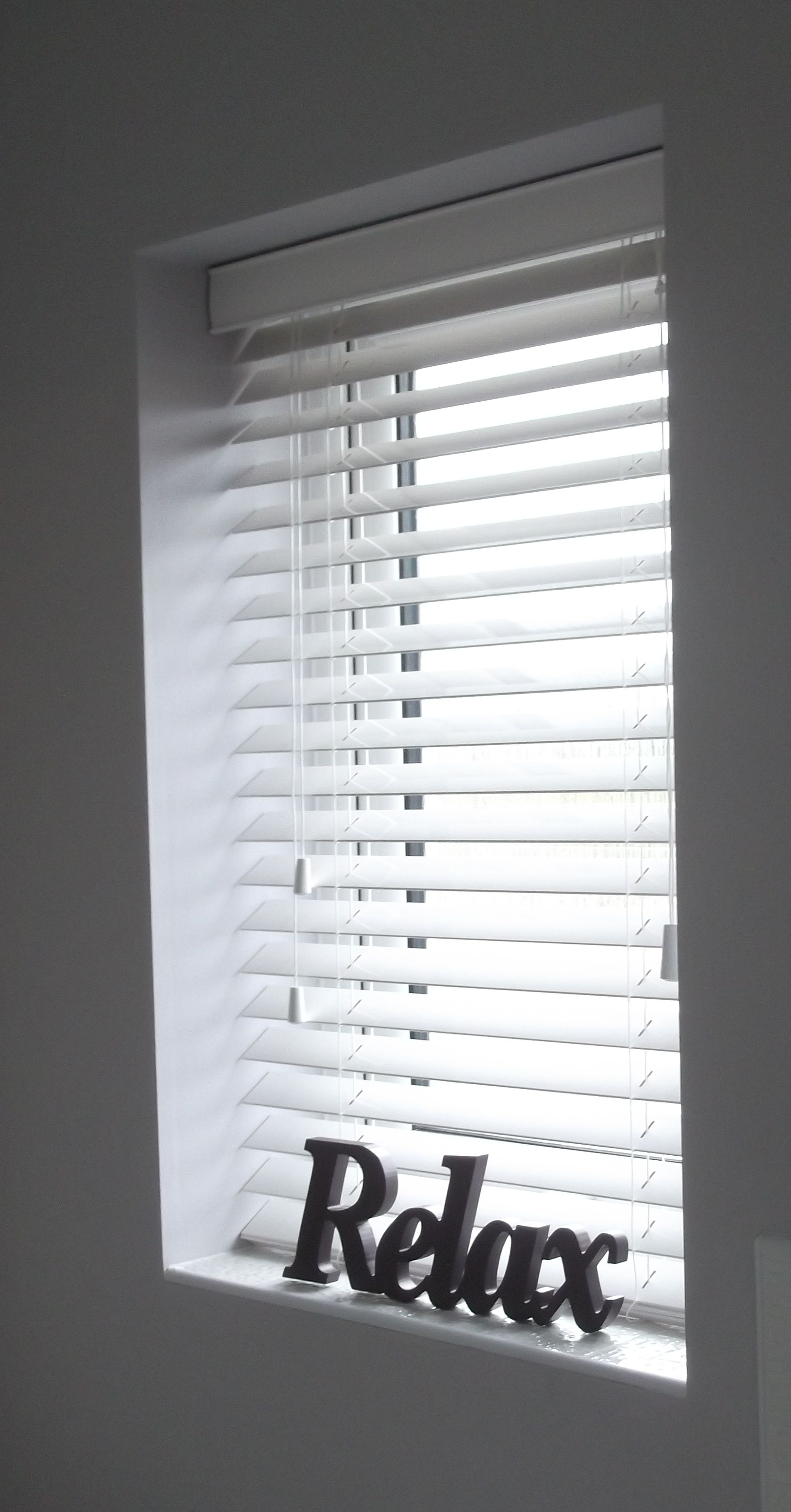 White Wood Blinds With Oak Trim Black Window Mixing