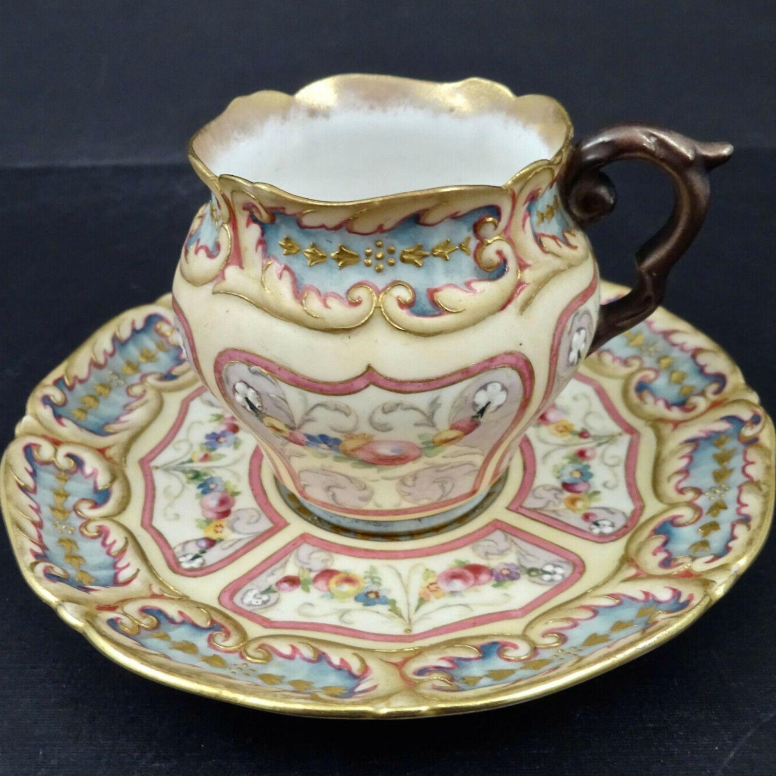 Antique Doulton Burslem Demitasse Cup And Saucer Set Cupsaucer