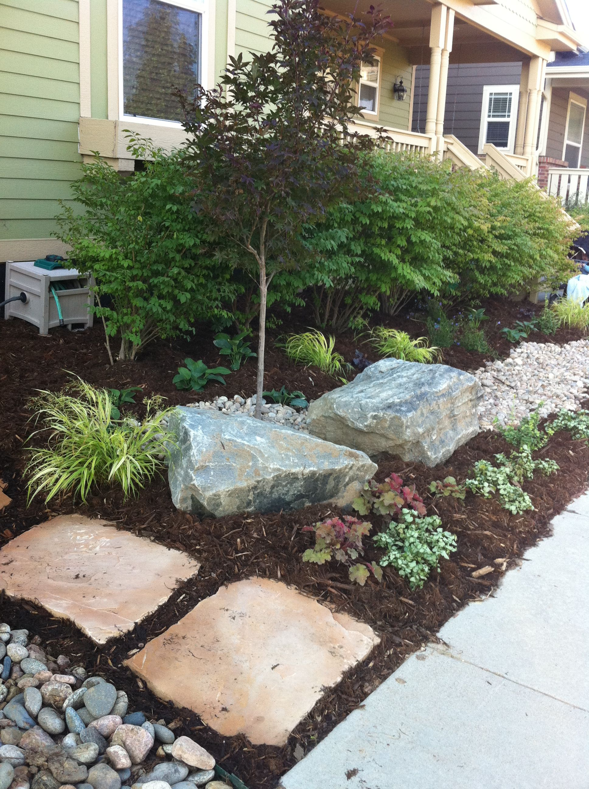 Shady Front Yard Japanese Maple With Granite Boulders And