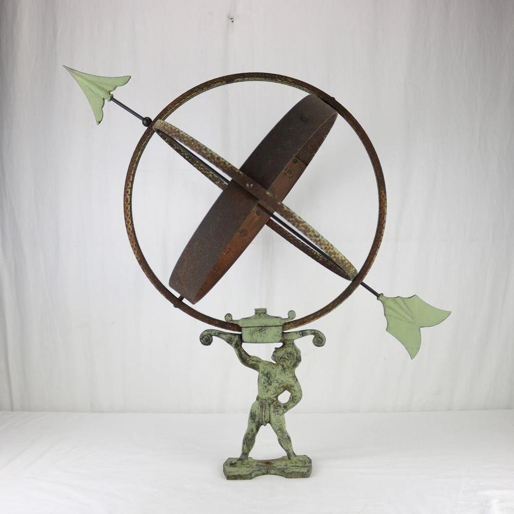 Antique Garden Armillary Sphere Atlas Holding Copper Patina Large Size