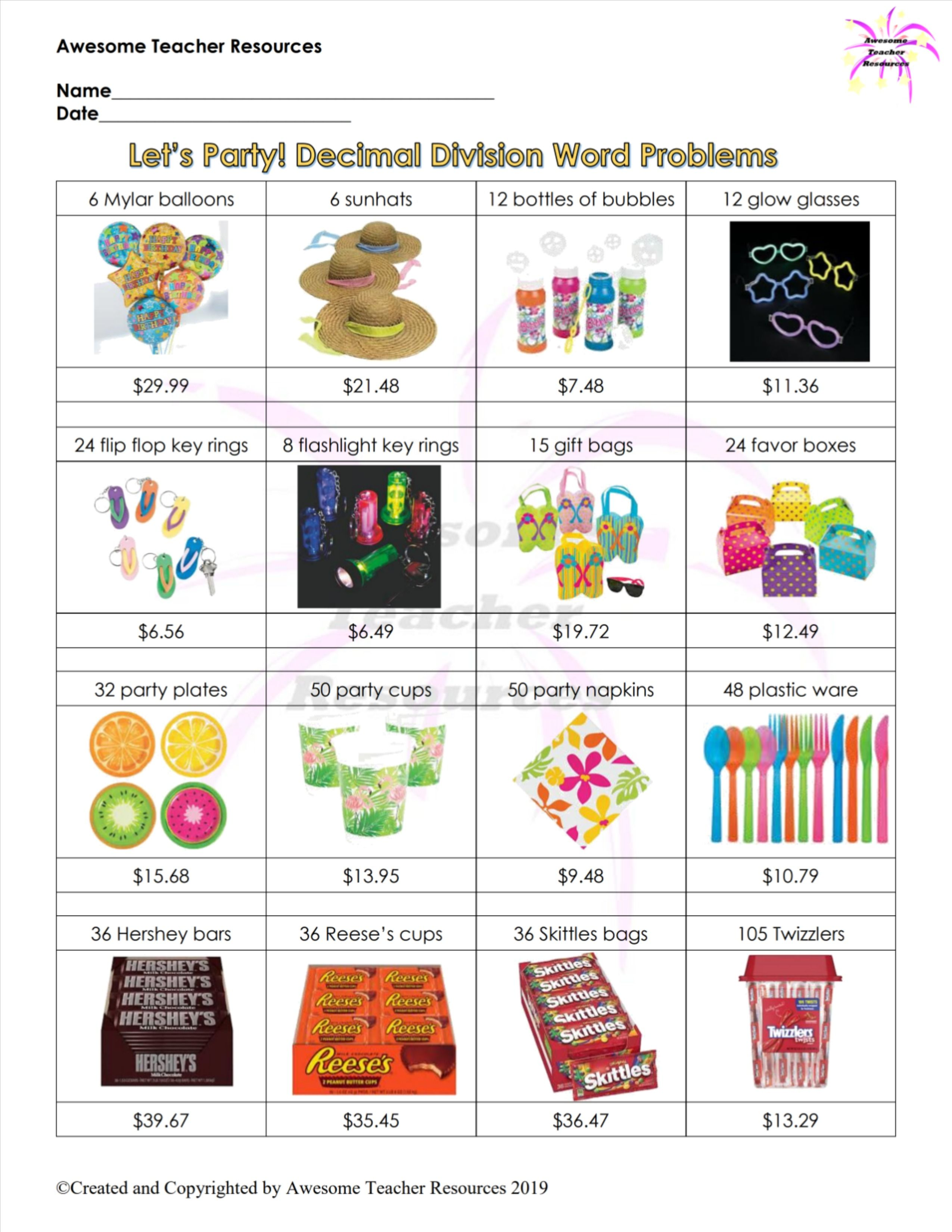 Let S Party Decimal Division Word Problems Worksheet In
