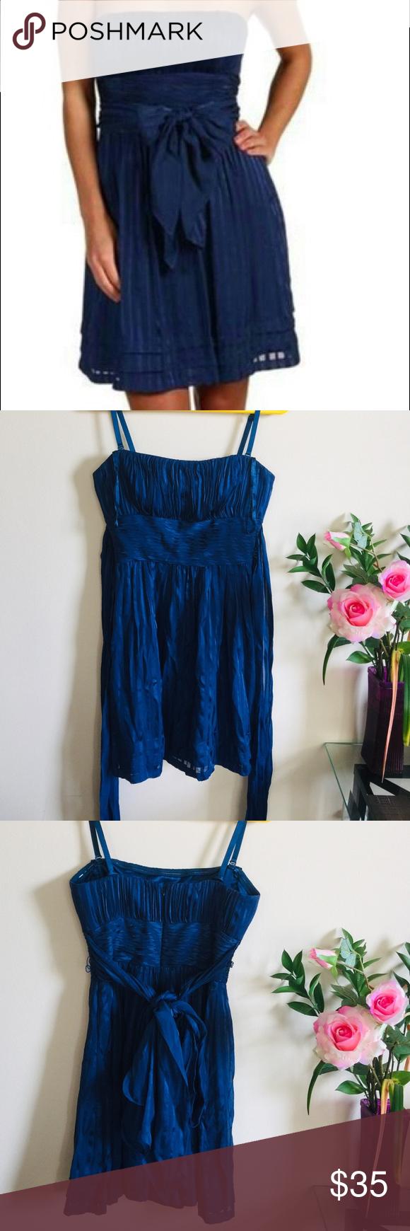 BCBGMAXAZRIA DRESS!! Size-04 Excellent condition!! Navy blue silk short dress! BCBGMaxAzria Dresses Mini #navyblueshortdress