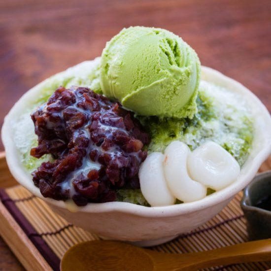 Japanese dessert beans shaved ice