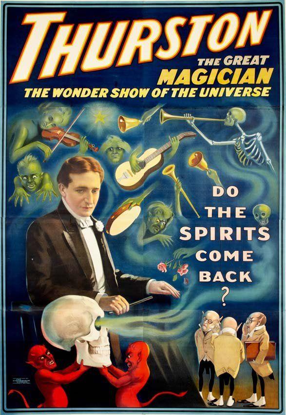 Thurston, Do the Spirits Come Back?, vintage sideshow poster (1915).