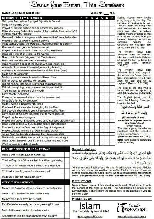 Ramadan Self Improvement Checklist