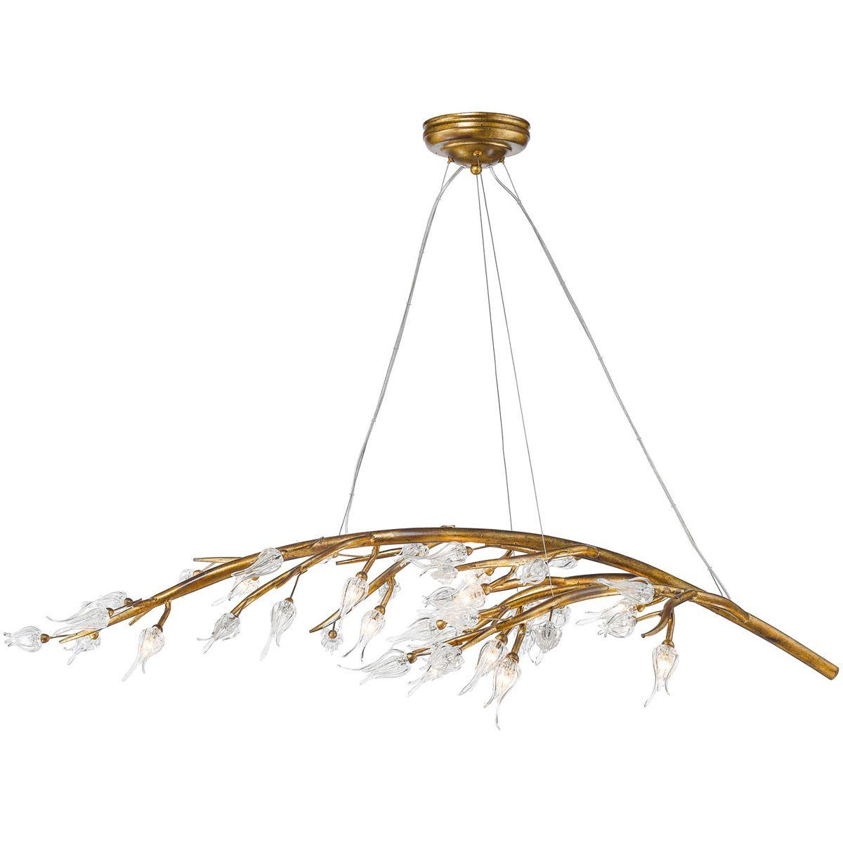 Golden Lighting 9942 12 Gl Aiyana Light 54 Inch Gold Leaf Chandelier Ceiling In Clear