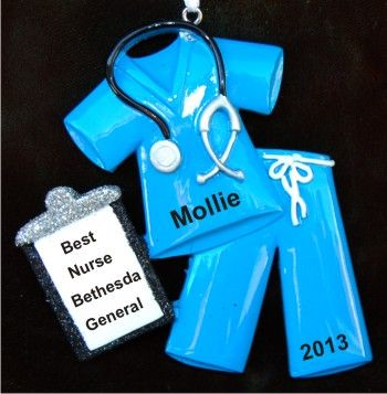 Medical Scrubs Blue Christmas Ornament Personalized