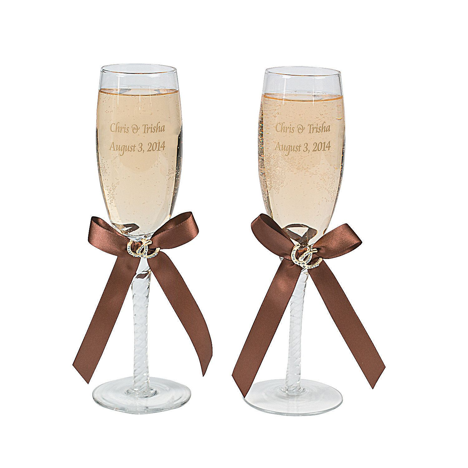 Personalized Rustic Western Wedding Champagne Flutes ...