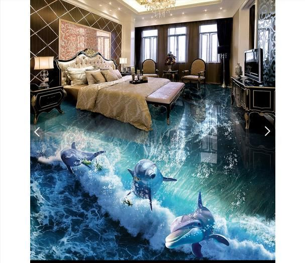 Pas Cher 3D Photo Papier Peint Personnalisu0026eacute; 3D Plancher Papier Peint  Peinture Dauphin Mer Ocean