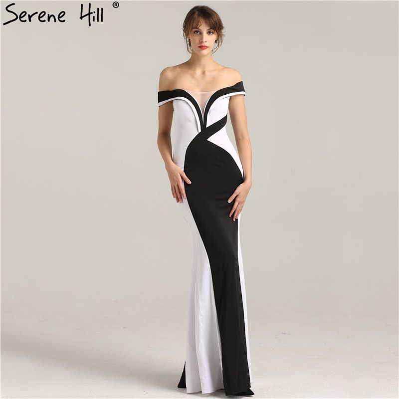 c93d8680b29 Elegant Black and White Off Shoulder Mermaid Evening Dresses 2018 New Design  Floor Length Party Gown Robe De Soiree BLA6266-in Evening Dresses from  Weddings ...