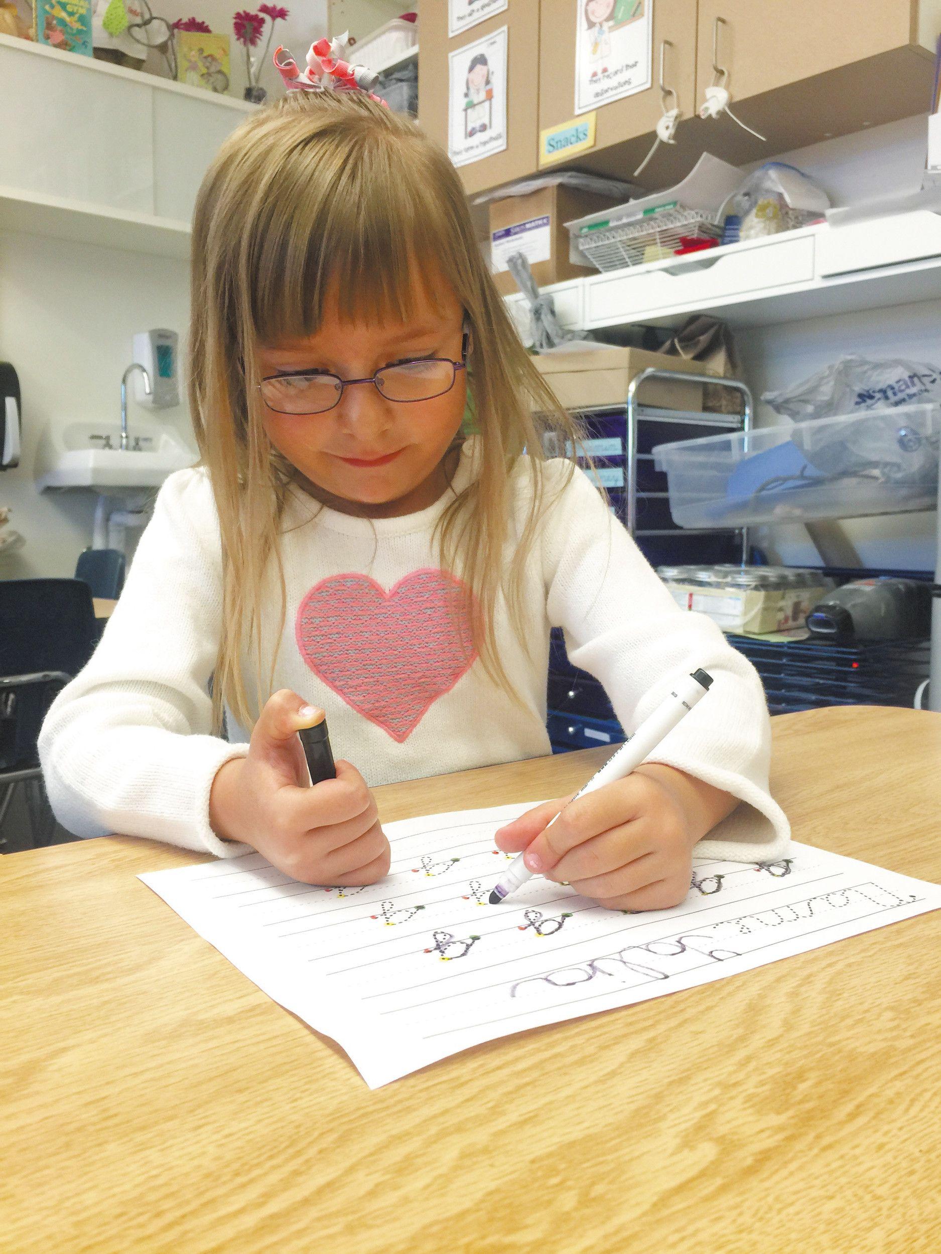 Talia Collier Pre Kindergarten Diligently Practices Her